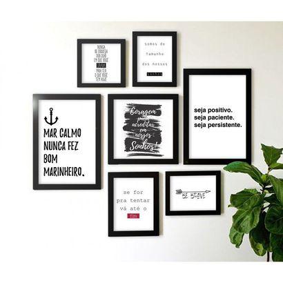 Composição Kit De 7 Quadros Decorativos Frase Motivacionais