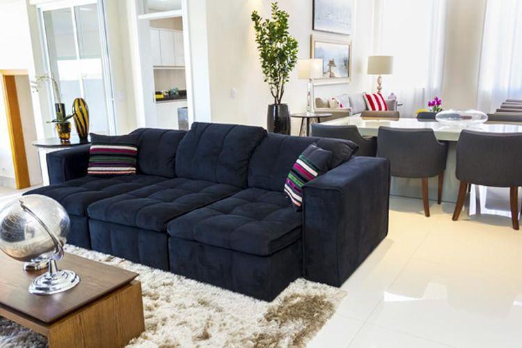 Sala De Estar Sofa Preto ~ Sala de estar com sofá Preto e almofada Colorida de Joel Caetano Paes