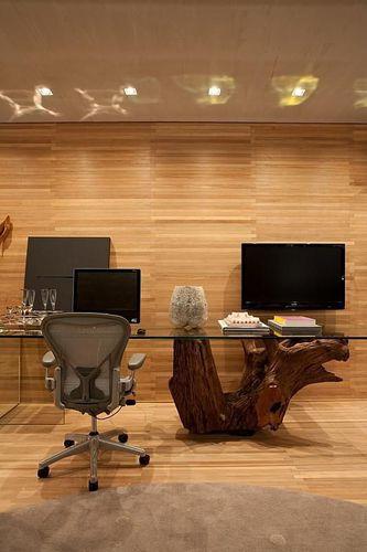 Decoração Home Office Mesa com tronco de árvore denisebarretto 75837