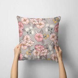 6545e767cfe229 Almofada Avulsa Decorativa Cute Flowers 35x35cm