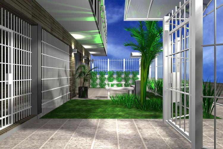 banco de jardim poema:Área externa com bancos de Madeira de Leandra Saldanha – 46932 no