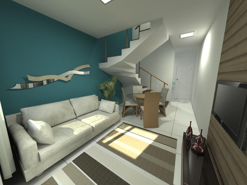Sala de estar com parede Azul e sofá Branco de Josiane Bassani  Viva