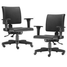 7e7cc8b27 Kit 02 Cadeiras de Escritório Diretor Giratória Sephia Couro Sintético Preto  - Lyam Decor