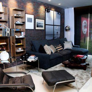 sala de estar com mesa lateral de ferro e vidro de juliana pippi 70650 no viva decora. Black Bedroom Furniture Sets. Home Design Ideas