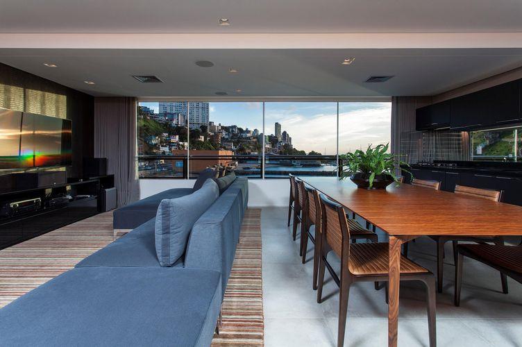 Sala De Estar Com Azul ~ Sala de estar com sofá azul de SQ+ Arquitetos Associados  65448 no