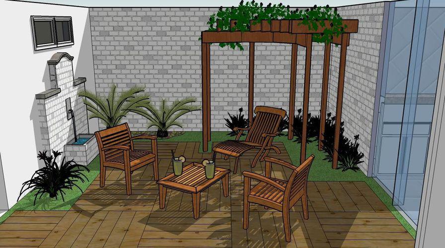 deck jardim copacabana:Jardim Deck de Madeira tatianegaviolidematos 44185