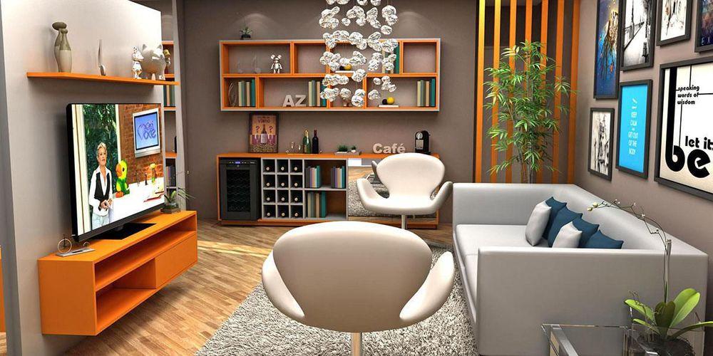Laranja Na Sala De Estar ~ Sala de estar moderna com Rack Laranja de Juliana Almeida  61053 no