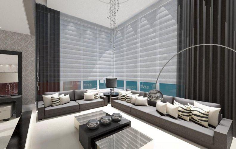 Sala De Estar Com Sofá Grande ~ Sala de estar com sofá grande e luminária de Piso de AUREUM