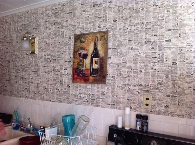 Cozinha com parede de jornal de Revista Viva Decora  ~ Quarto Pixado Tumblr