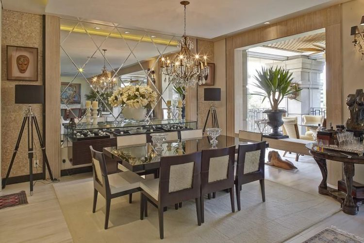 Sala De Jantar Triangular ~ Sala de jantar com espelho em toda Parede de Ana Luisa Previde  71987