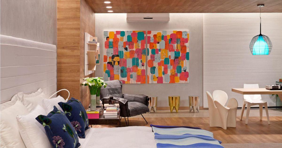 Quadro colorido em sala de estar de juliana santana for Sala de estar quadro