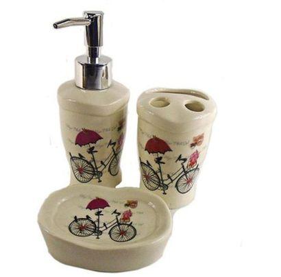 Kit Toalete Banheiro Em Porcelana Cerâmica Bike 03 Peças
