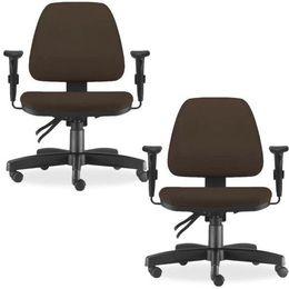 f263c4730 Kit 02 Cadeiras de Escritório Giratória Executiva Ergonômica Sky Suede  Marrom - Lyam Decor