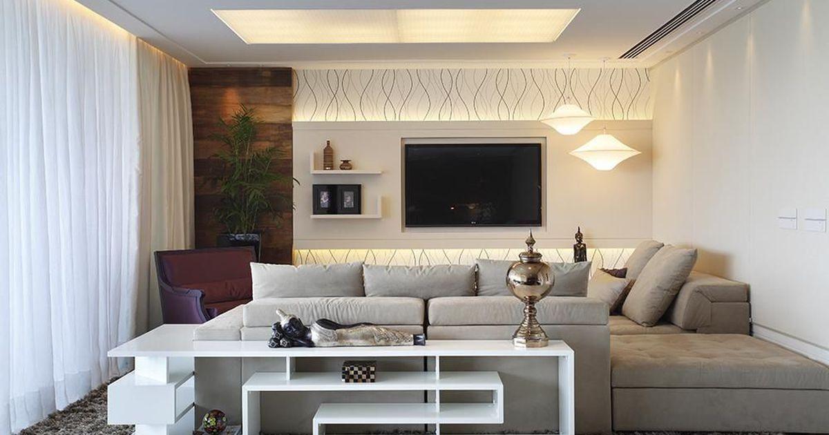 Sala de estar tv integrada de leila dionizios 21650 no for Sala de estar con tv