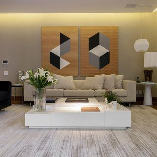 Sala de estar com quadro grande de deborah basso 62889 for Sala de estar quadro