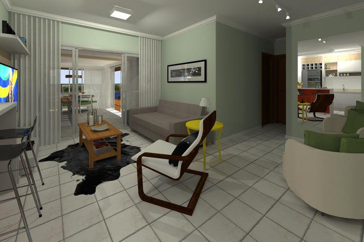 Sala De Estar Com Mesa Lateral Amarela