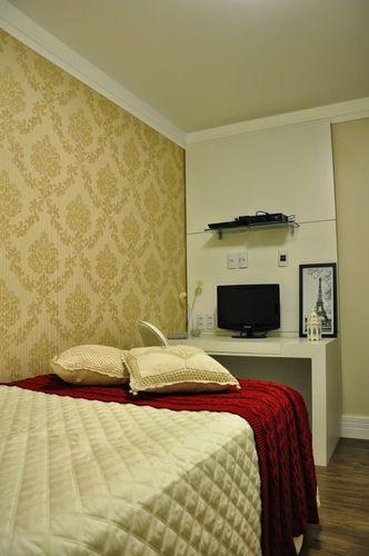 Quarto de solteiro com papel de parede e bancada para  ~ Quarto Solteiro Arquitetura