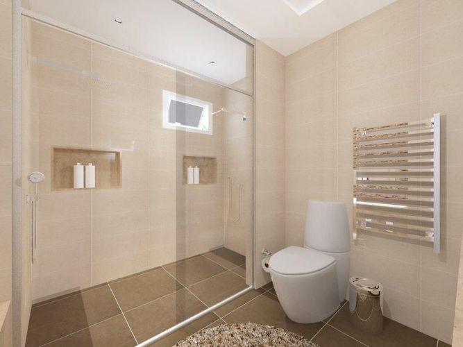 Banheiro com piso Marrom de AUREUM Arquitetura & Interiores  49859 no Vi -> Banheiro Simples Suite