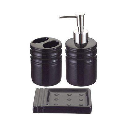 Kit Para Banheiro Com Saboneteira Porta Sabonete Líquido E Escova Dental Em Porcelana Art House