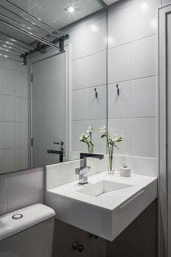 Banheiro minimalista na cor branca de vanessa kairiyama for Lavabo minimalista